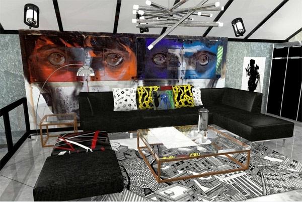wohnzimmer gestaltung futuristisch sitzmöbel mit durchsichtigen beinen
