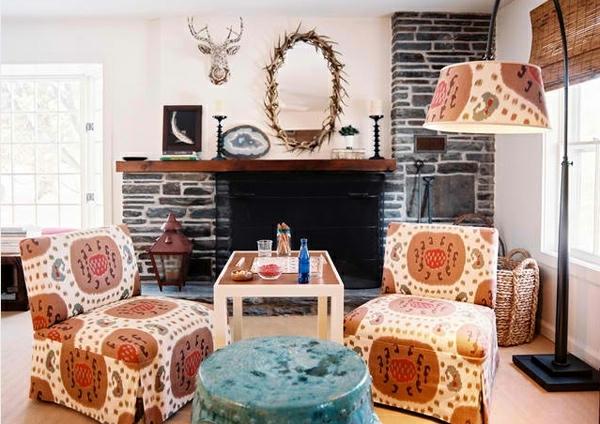 wohnzimmergestaltung kamin in naturstein look