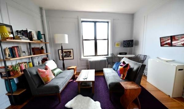 Wohnzimmergestaltung Lila Muster Teppich