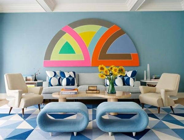 wohnzimmergestaltung stylisch in leuchtenden farben