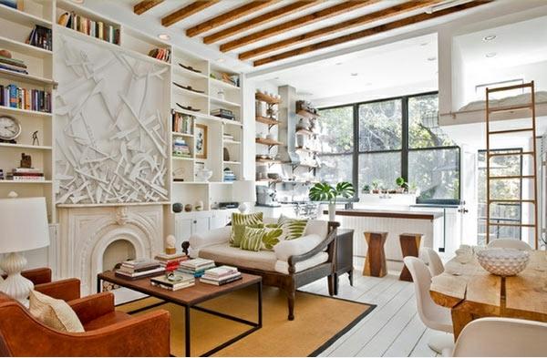 wohnzimmer gestaltung weiße bodendielen ocker teppich
