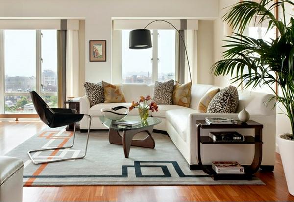 wohnzimmermöbel kirschholz parkett bogenlampe in schwarz