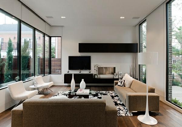 wohnzimmermöbel minimalistisches interieur in weiß schwarz und beige