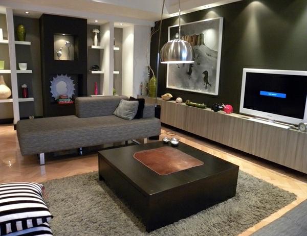 wohnzimmermöbel rechteckiger beistelltisch aus dunklem holz