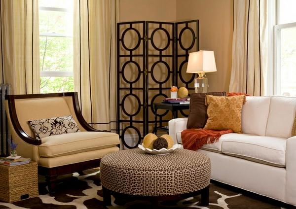 wohnzimmermöbel runde ottomane mit geometrischen mustern