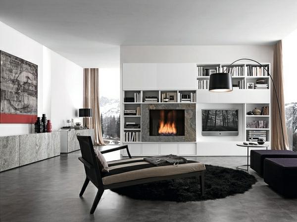 wohnzimmermöbel runder schwarzer fellteppich