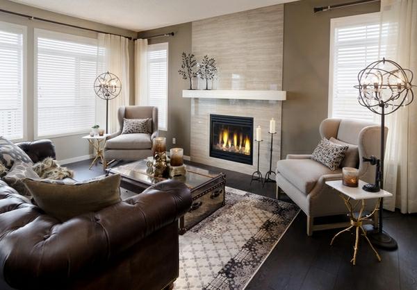 wohnzimmermöbel sofa mit dunkelbraunem leder bezogen