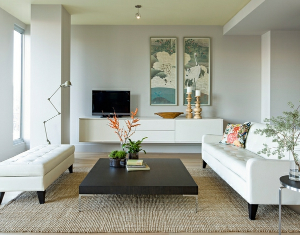 wohnzimmermöbel weißleder ottomane und couch
