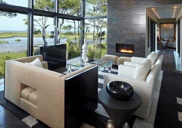 wohnzimmermöbel weißleder sessel konusförmiger beistelltisch