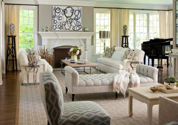 wohnzimmermöbel weich gepolsterte weiße ottomane