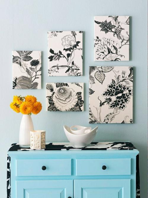 DIY Dekoideen für Bilderrahmen schwarz weiß floral