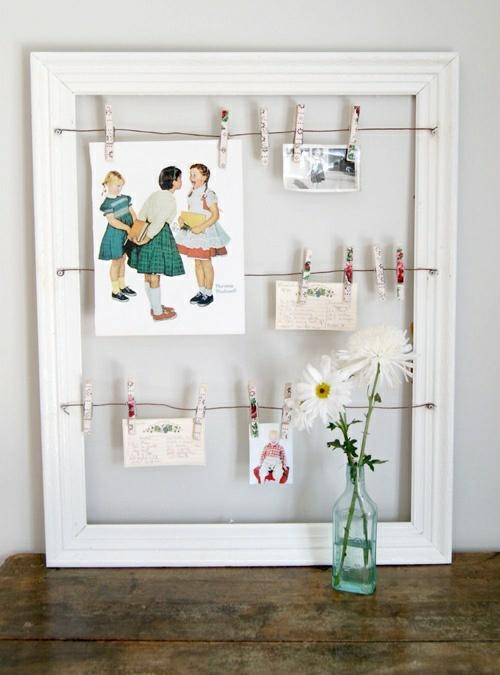 wunderliche DIY Dekoideen für Bilderrahmen wäscheklammer