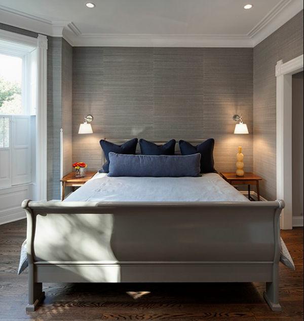 zeitgenössisch schlafzimmer grau stilvoll schlittenbett