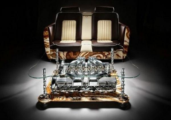 Couchtische und Sofas aus Autoteilen originell