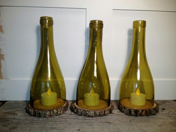 Bastelideen für DIY Projekte aus Weinflaschen baum holz