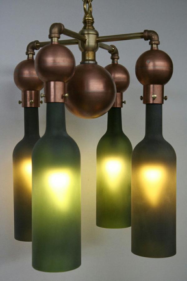 Bastelideen für DIY Projekte aus Weinflaschen beleuchtung lampen
