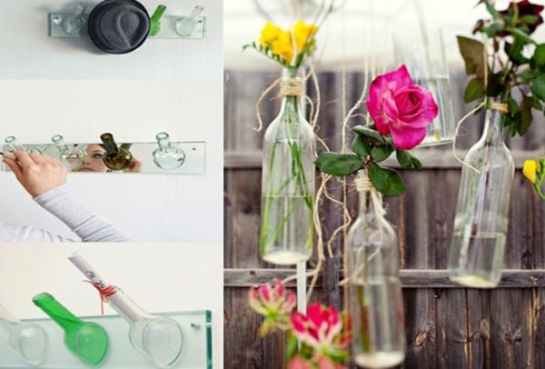 Bastelideen für DIY Projekte aus Weinflaschen blumenvasen