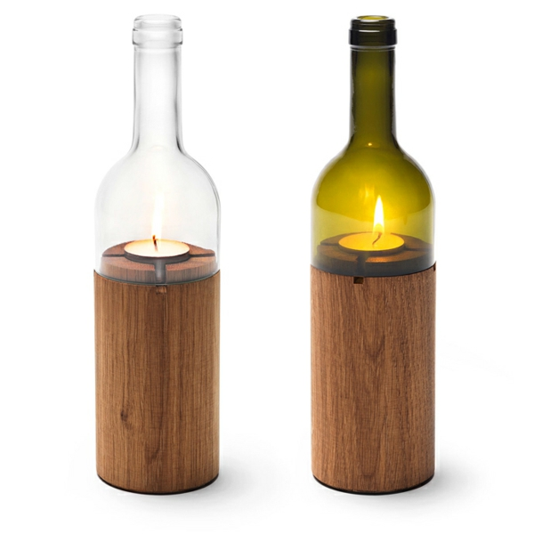 DIY Projekte aus Weinflaschen holz kerzenhalter