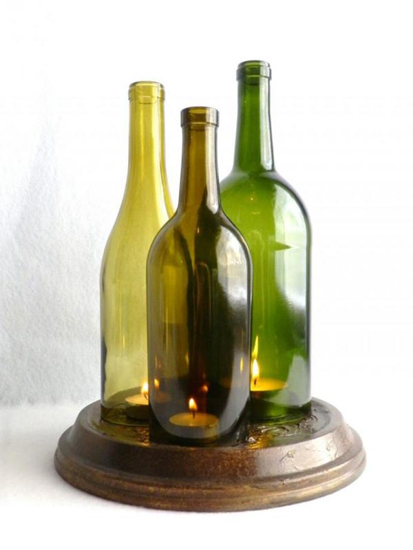 DIY Projekte aus Weinflaschen kerzen