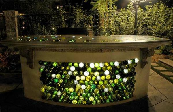 Bastelideen für DIY Projekte aus Weinflaschen konstruktion theke