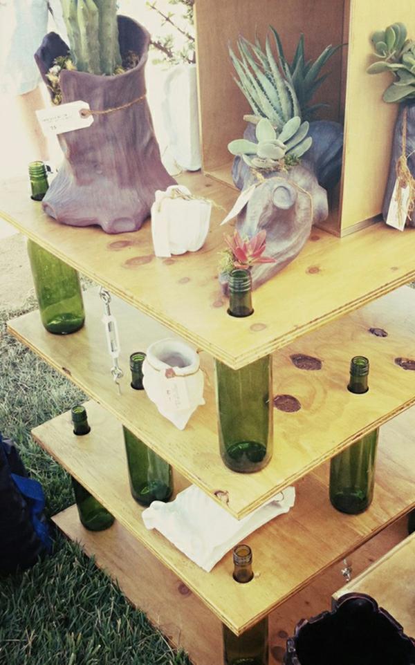 Bastelideen für DIY Projekte aus Weinflaschen regale basis