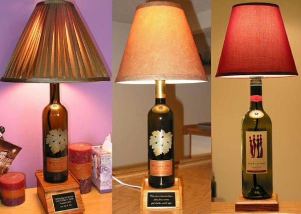 Bastelideen für DIY Projekte aus Weinflaschen tischlampen sockel holz