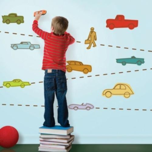 interessante bunte Tapeten für Kinderzimmer autos verkehr