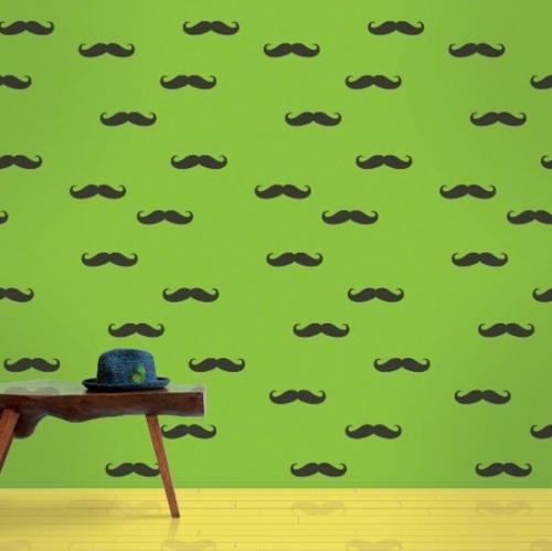 Tapeten für Kinderzimmer blau grün bart schwarz tischplatte holz