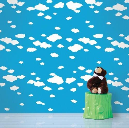 Bunte Tapeten für Kinderzimmer blau wolke nachttisch plastik