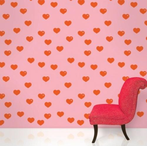 rosa Tapeten für Kinderzimmer herzen rosa rot stuhl