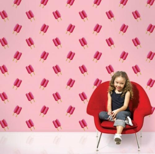 lila rosa Tapeten für Kinderzimmer rosa eiscreme sessel