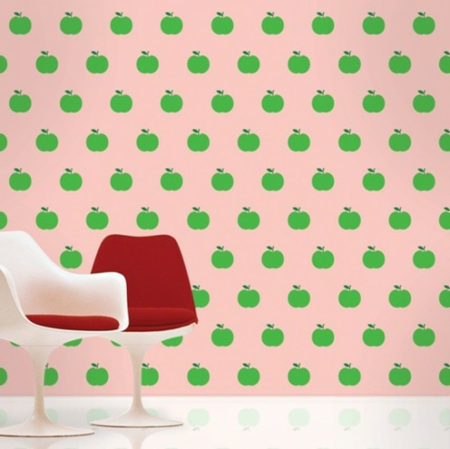 grüne rosa Tapeten für Kinderzimmer rosa farbe apfel grün