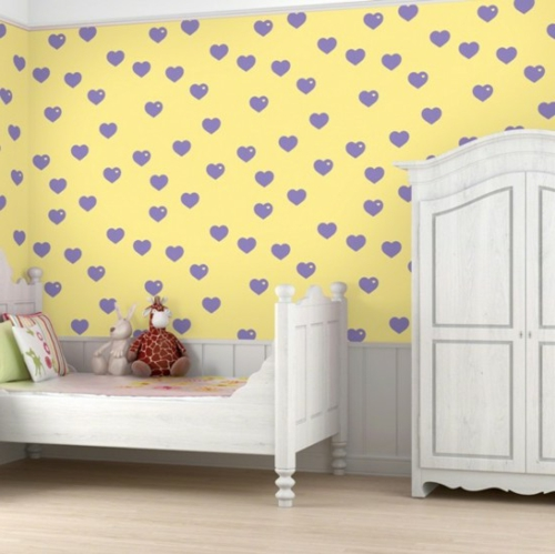 bunte Tapeten für Kinderzimmer weiß schrank gelb lila herzen