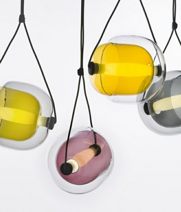 Capsula Hängelampen glasklar bunt kern natur originell