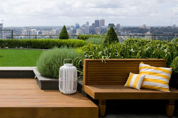 Coole Ideen für erstaunliche Dachterrasse grün laternen
