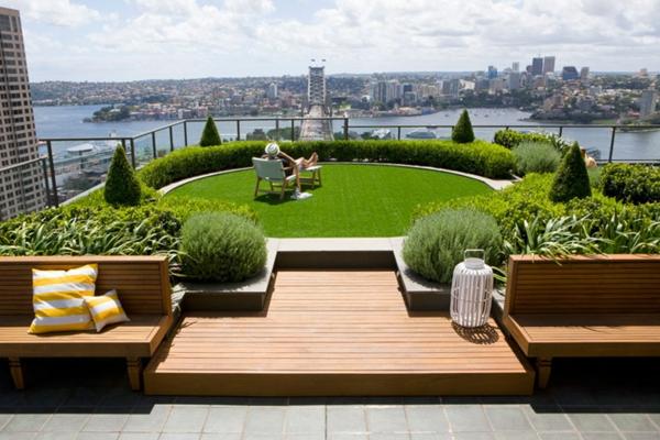 Coole Ideen für erstaunliche Dachterrasse rund grün gras