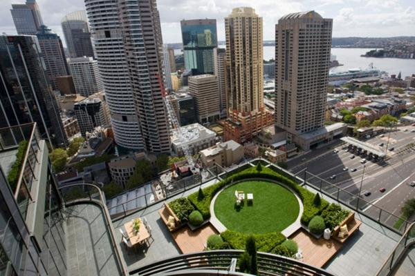 Coole Ideen für erstaunliche Dachterrasse rund grün
