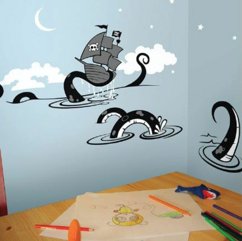 Coole Wandtattoos kinderzimmer wolken piratenschiff monster