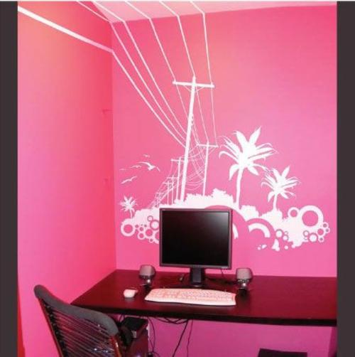 Wandtattoos rosa wand schreibtisch computer feminine Coole