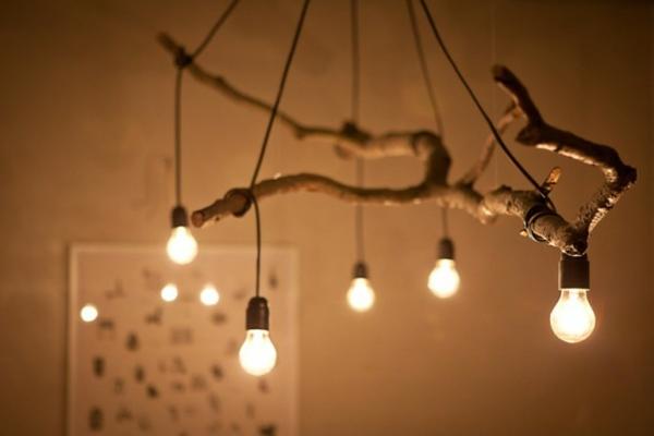 Ideen glühbirnen hängen zweig kronleuchter