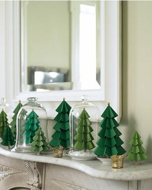 selber machen Deko aus Papier tannenbaum grün glasdeckel