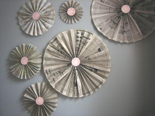 Dekoration aus Zeitung Windrädchen wanddekoration