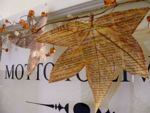 DIY Dekoration aus Zeitung blätter herbst
