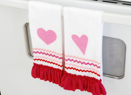 Valentinstag Geschenke und Deko girlande küchentuch DIY