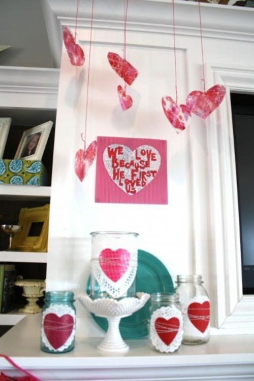 Valentinstag Geschenke und Deko hängend DIY