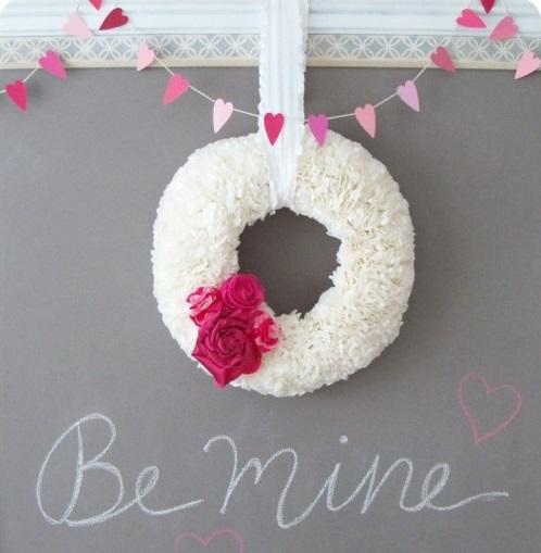 DIY Valentinstag Geschenke und Deko kranz weiß band