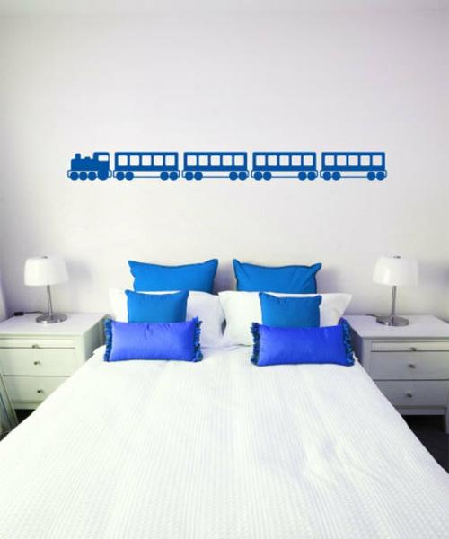 Deko für Wandsticker blau weiß schlafzimmer