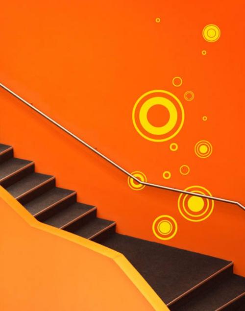 dekoration für Wandsticker orange wände flur