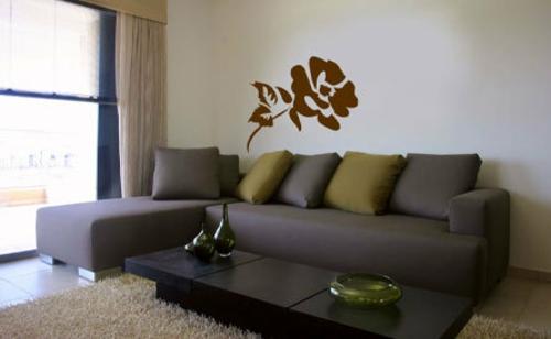 Dekoration für Wandsticker wohnzimmer grau grün sofa kissen