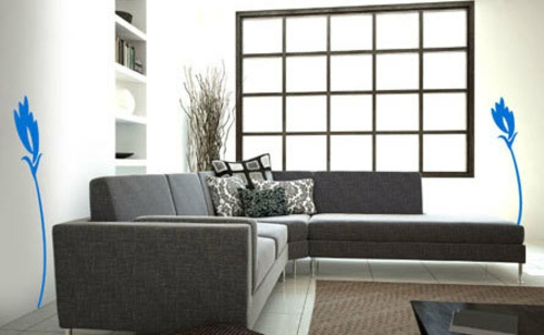 Dekoideen für Wandsticker wohnzimmer grau sofas